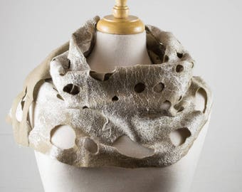 Bronze Felt Scarf | White silk| felted scarf | Hand Dyed scarf| Nuno felt scarf| Gift | Felted scarves | Lacy scarf| silk| Unique Style