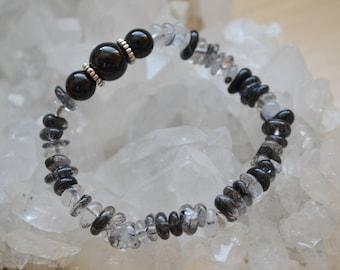 Black Tourmaline with Black Rutilated Quartz Bracelet