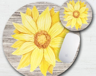 Round yellow flowers etsy rustic sunflower mouse pad coaster set autumn floral country flowers sunflower decor yellow flowers country sunflowers round coasters mightylinksfo
