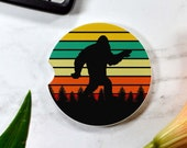 Bigfoot Sunset Sandstone Car Coaster - Absorbent - Cup Holder Coaster - Mythical Creature Gift - Sasquatch - Lore - Big Foot - Yeti