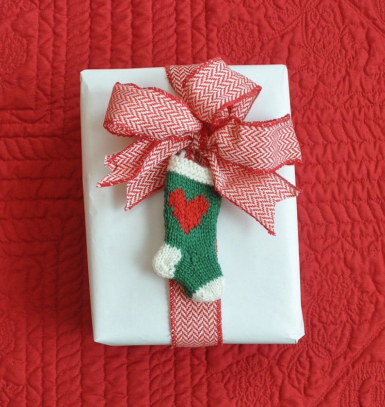 Heart Reindeer and Star Set of 3 Hand-Knit Christmas Stocking Ornaments  Sale