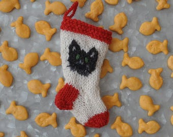 Black Cat Hand-Knit Christmas Stocking Ornament