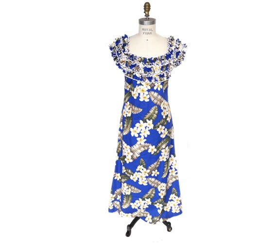Hawaiian Muumuu Cotton Kaftan House Dress XL Crepe Barkcloth