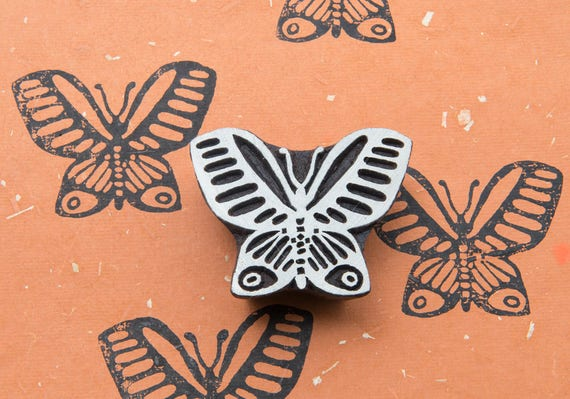 Butterfly Handcarved Indian Wooden Printing Block Stamp Scrapbook Textile Stamp