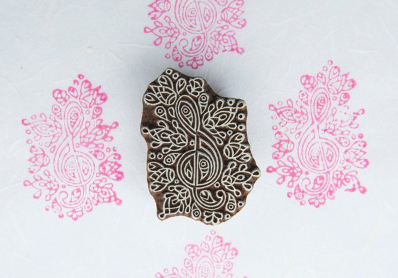 Musical Note Indian Textile Stamp Song Note Block Printing Stamp Note Wooden Block Stamp Hand Carved Song Note Stamp