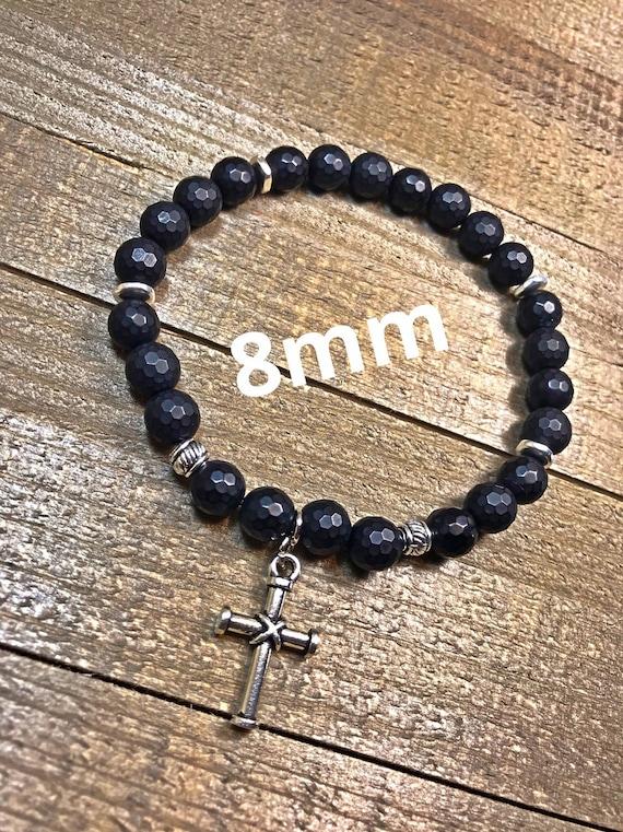 gifts for him Men/'s beaded bracelet stretch bracelet stackable bracelet, jewelry mens bracelet cross bracelet beaded bracelet