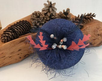 Navy Sinamay Pill Box Hat  - Kentucky Derby Hat - Mother of Bride Hat - Wedding Hat - Royal Ascot Hat - Derby Hat