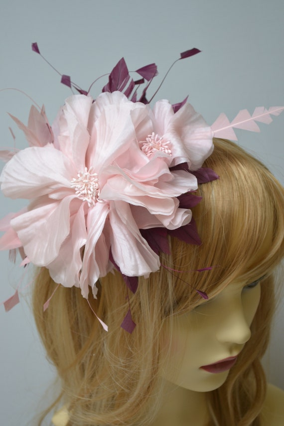 Pink Feather And Flower Fascinator Etsy