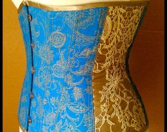 Blue Underbust Corset, gold & lace