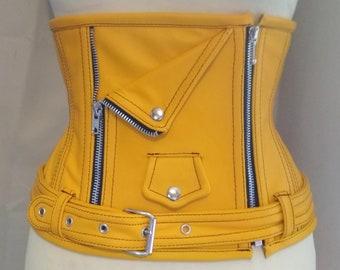 Yellow leather Underbust Perfecto Corset