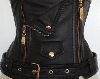 Perfecto Underbust Corset in black leather and gold closure