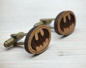 Mens Cufflinks - Batman Cufflinks -  Superhero Cufflinks - Wood  elegant cuff links - wedding cufflinks