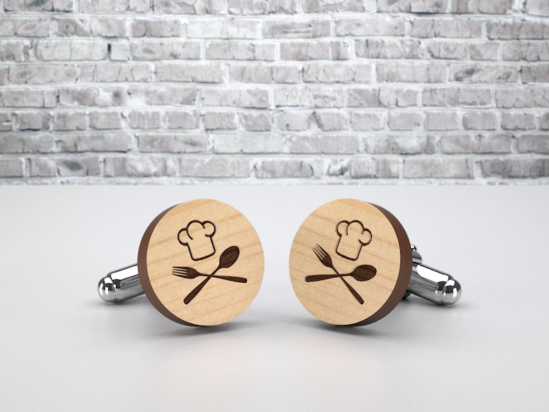 Master Chef custom cufflinks. Handmade wedding wood cuff links image 0