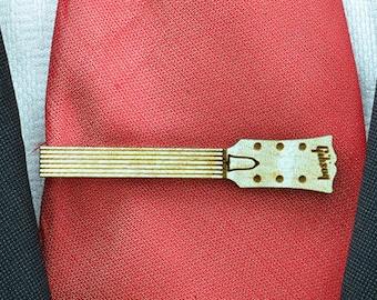 Guitare cou pince à cravate - barre de liaison bois pour amateur de guitare - parfaits cadeaux pour les hommes - pinces à cravates sur mesure sur demande
