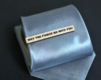 Pince à cravate citation - Star Wars que la force soit avec vous. Barre de liaison bois d'érable