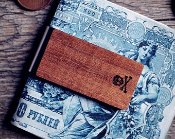Handcrafted wood money clip - Skull and bones