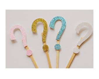 Question Mark Cupcake Topper ; Gender Reveal Decorations ; Gender Reveal Ideas ; Pink and Blue Baby Shower Decor ; Gender Reveal Party
