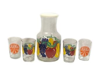 Vintage Juice Carafe and Tumbler Set