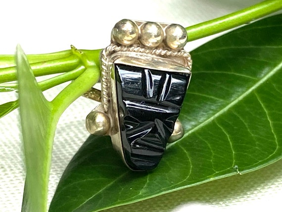 Carved Onyx Aztec Sterling Silver Ring Mexican Sil