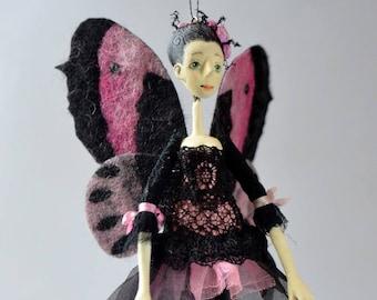 Flower fairy, Butterfly Fairy, OOAK miniature doll, OOAK fairy doll, Doll Ornament, OOAK Fairy Pixie Elf Fantasy Art Doll, collectible doll