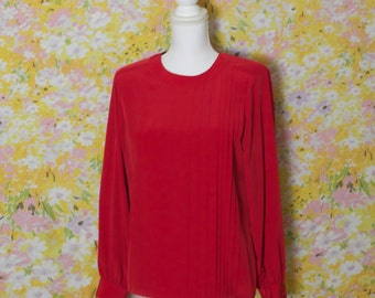 Fire Engine Red Long Sleeved Silk Blouse