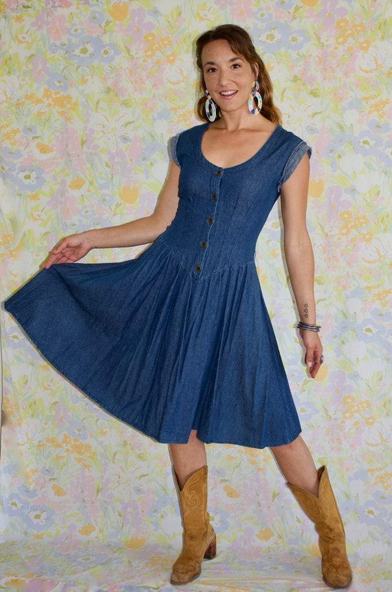SweetHeart Denim Dress - Vintage Denim Dress