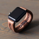 Leather Apple Watch Band Bracelet - Leather iWatch Straps with Hidden Shockcord - 38 or 42mm Apple Watch Version 1,2,3 - Leather Watch Cuff