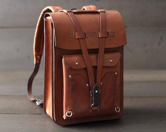 Leather Backpack - Leather Laptop Bag - Small Rucksack - Laptop Backpack - Laptop Case - Macbook - Handmade - School Bag - Knapsack - Travel