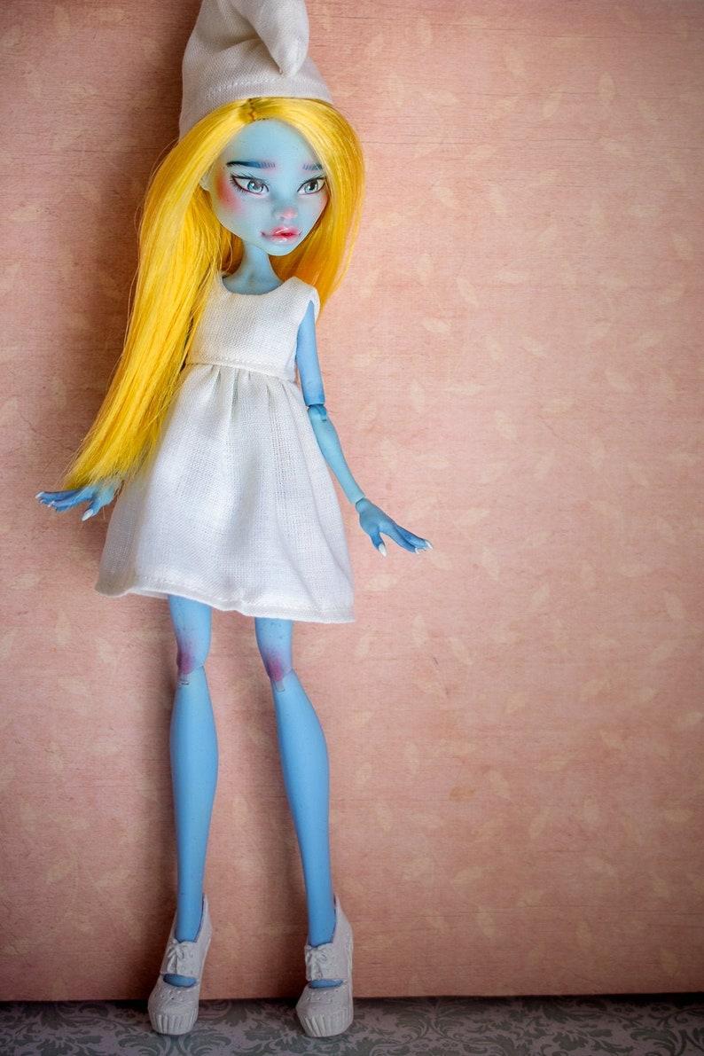 SMURFETTE inspired custom doll Monster High Abbey Bominable image 0