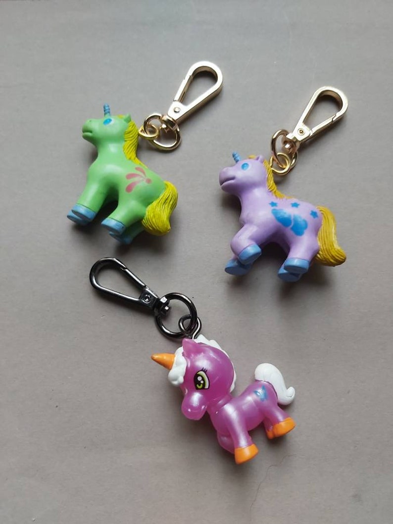 Unicorns My Little Pony MLP bag clips made in Greece zipper pull