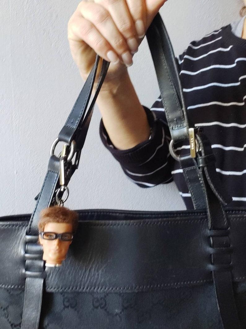 handbag accessory Ken Doll Head made in Greece Ken zipper pull bag clip Geek glasses