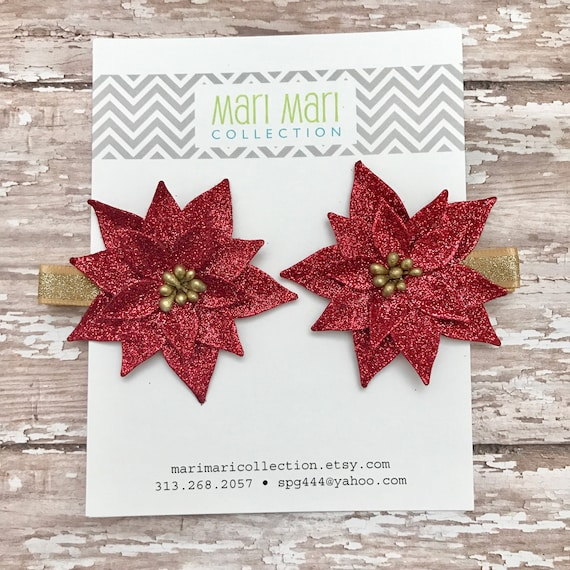 Christmas Hair Clips.Poinsettia Christmas Hair Clips Small Christmas Bows Poinsettia Hair Clip Set Red Poinsettia Hair Clips Christmas Bows For Girls