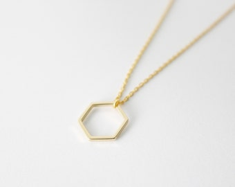 Gold Hexagon Necklace - Geometric Necklace - Minimal Necklace
