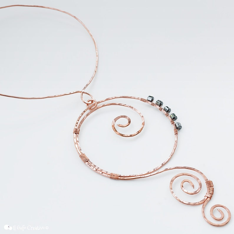 hematite stone beads A copper necklace a choker pendant with shapes of spirals and circles a handmade jewel wire wrapped for womens gift