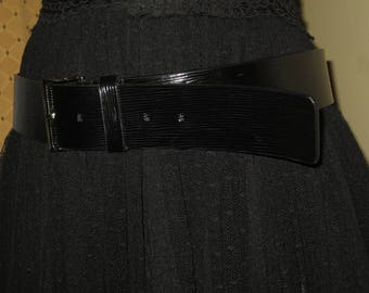 Woman's Vintage Calvin Klein Black Patent Leather Belt
