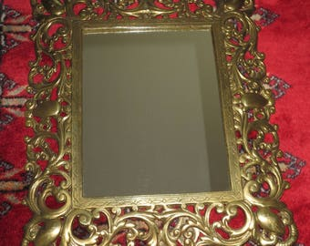 Antique 1930's Ornate Solid Brass Dresser Mirror , Solid Brass Picture Frame