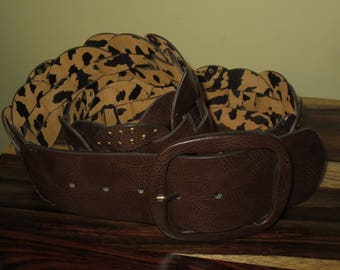 Vintage Betsey Johnson Wide Brown Weaved Faux Leather Belt, Brass Rivets, Size Medium