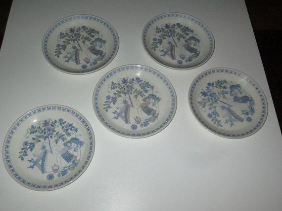 Vintage Set Of 5 Lotte Turi Design 6 34 Inch Plates Lotte Etsy