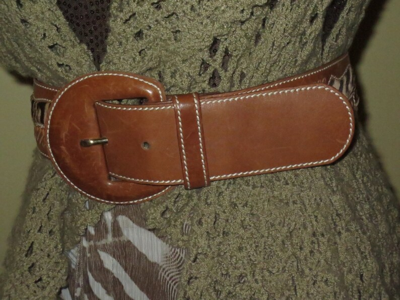 Woman/'s Rare Woman/'s Saddle-tan Leather Belt Fur Insert Signed Adolf