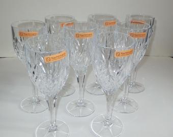 Vintage Set of 8 Nachtman Deep Cut Long Stem Crystal Wine Glasses, original label plus etched signature