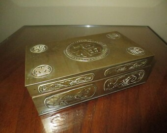 Antique 1940's Solid Brass Chinese Tobacco Box, Trinket Box, Cigarette Box, Oriental box