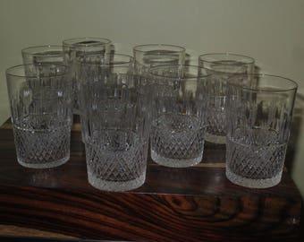 Vintage Set of 9 Cut Crystal Cordial Glasses, Juice Glasses , Tumblers