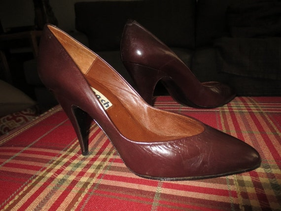 ca14534837e0f Vintage Never Worn Womens Brown Leather 4 inch Stiletto Pumps , French Shoe  Boutique ,