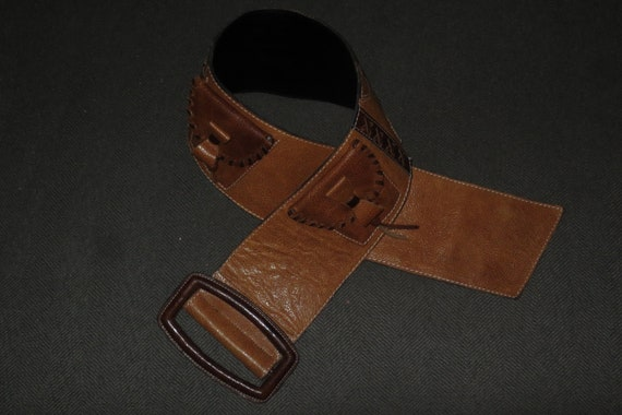 Woman's Extreme Wide Saddle-tan Leather Belt ,  Su