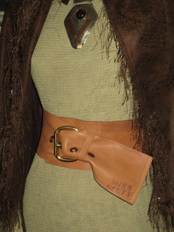 Woman's Vintage Awesome Extreme Wide Saddle-tan Le