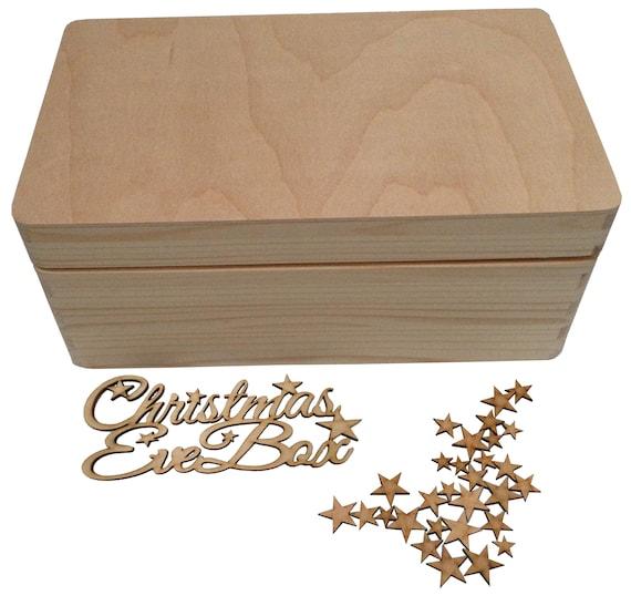 Corte láser Nochebuena Caja Caja de memoria Topper-Madera Craft