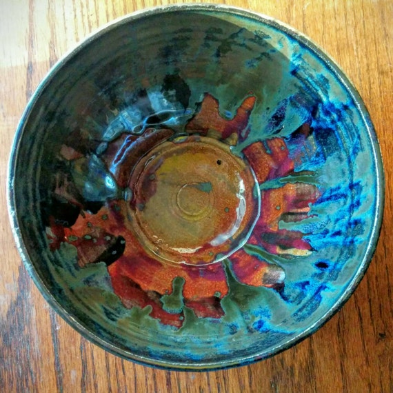Galaxy Bowl Large Ceramic Fruit Bowl Red Silver Blue Etsy