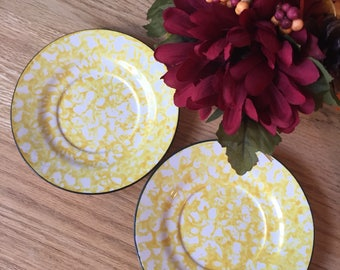 Spongeware Stangl Modern Farmhouse Cottage Decor Stangl Saucers Plate Wall Replacement China Hand Painted