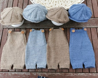 Dungarees and Sliding Cap Newborn Photography Baby Photography Newborn Shooting Knitted Pants