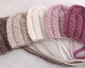 Caps with braid pattern for newborn photography